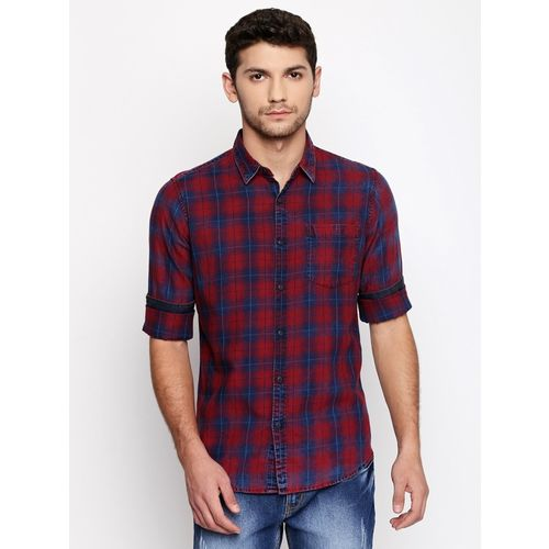 Dennis Lingo Men Checkered Casual Red Shirt