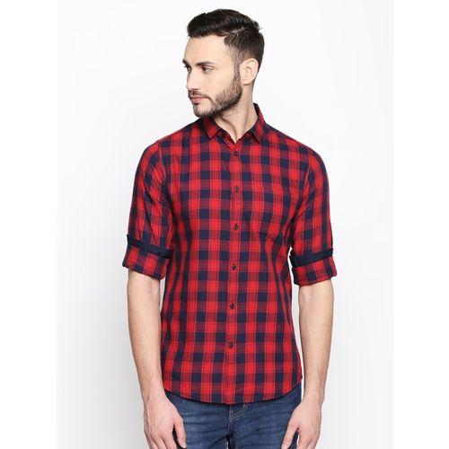 Dennis Lingo Men Checkered Casual Red, Blue Shirt