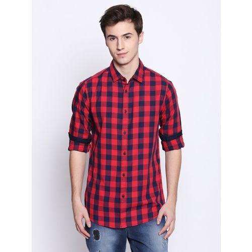 Dennis Lingo Men Checkered Casual Red Shirt