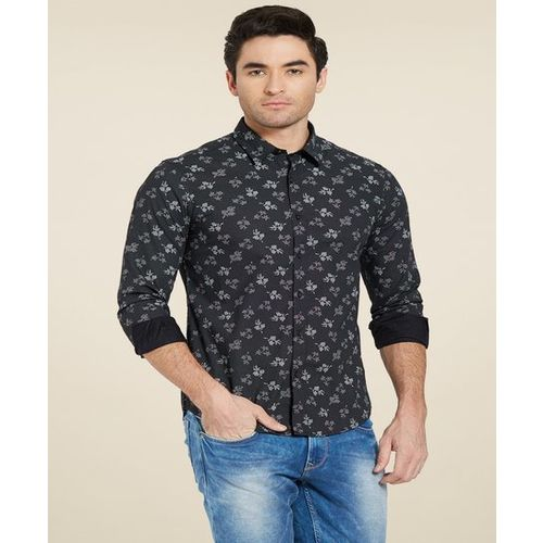 Spykar Black Slim Fit Printed Shirt