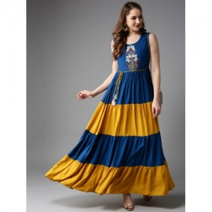 Anouk Blue & Mustard Yellow Rayon Colourblocked Tiered Anarkali Kurta