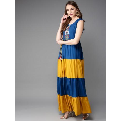 Anouk Blue & Mustard Yellow Rayon Colourblocked Tiered Anarkali Kurta