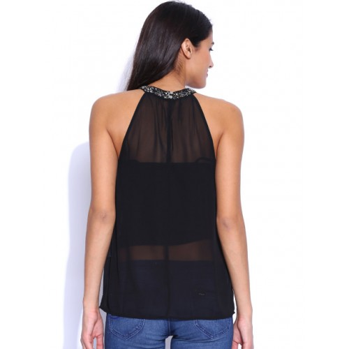 ONLY Black Chiffon Sequinned Sheer Top