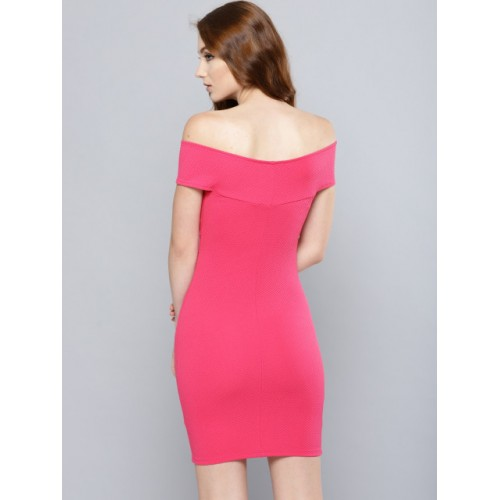 Veni Vidi Vici Pink Self Design Bodycon Bardot Dress