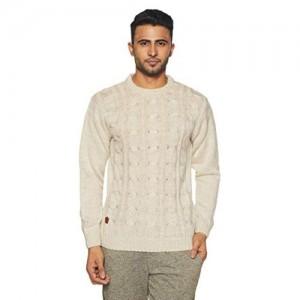 Duke Beige Acrylic Solid Sweater