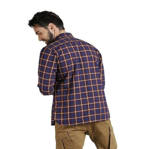 Peter England Dark Blue Checks Shirt