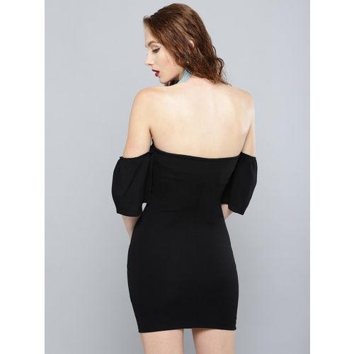 Veni Vidi Vici Women Black Solid Off Shoulder Bodycon Dress