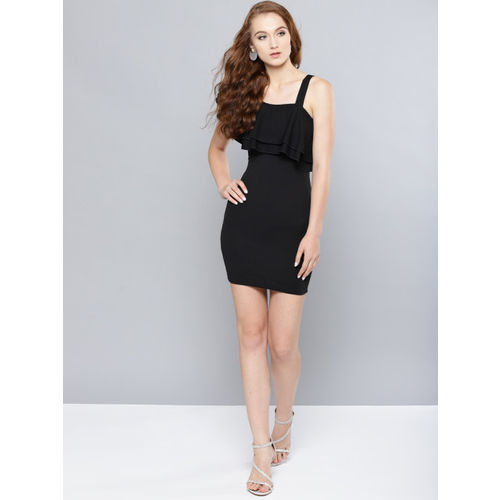 Veni Vidi Vici Women Black Solid Ruffled One Shoulder Bodycon Dress