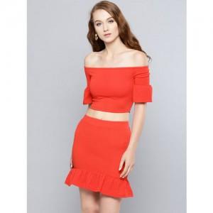 Veni Vidi Vici Women Red Solid Two-Piece Dress