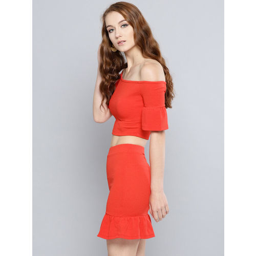 Veni Vidi Vici Women Red Solid Two-Piece Dress