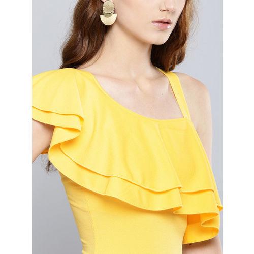 Veni Vidi Vici Women Yellow Solid One-Shoulder Bodycon Dress