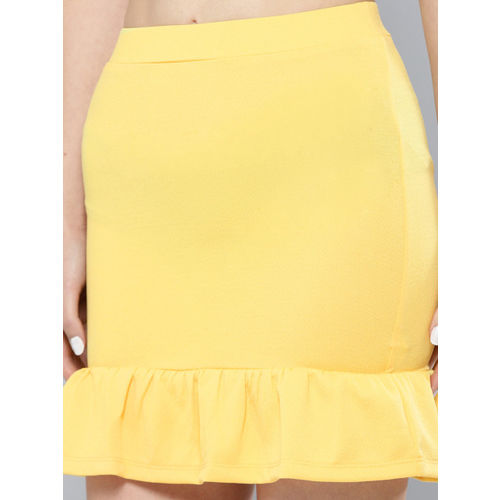 Veni Vidi Vici Women Yellow Solid Two-Piece Dress