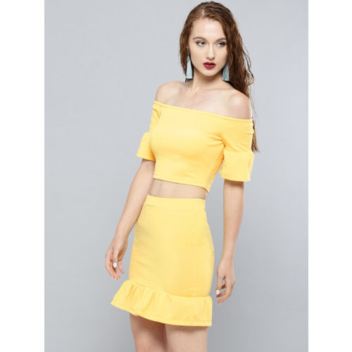 Veni Vidi Vici Women Yellow Solid Two-Piece Dress