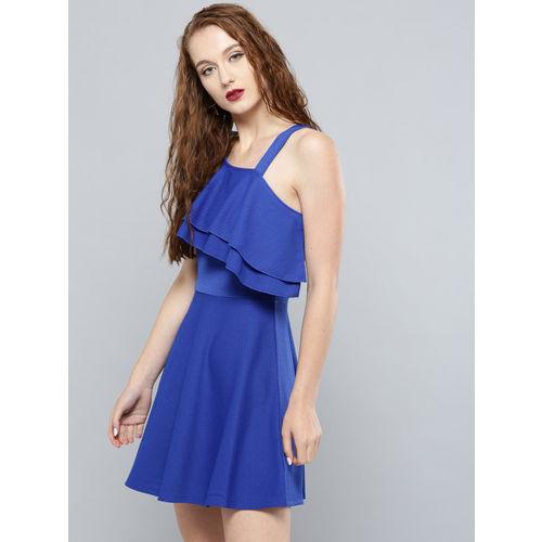 Veni Vidi Vici Women Blue Solid Ruffled One Shoulder Fit & Flare Dress