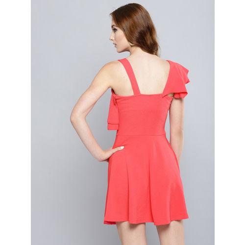 Veni Vidi Vici Women Coral Pink Solid One-Shoulder Fit and Flare Dress