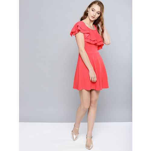 Veni Vidi Vici Women Coral Pink Solid One-Shoulder Fit and Flare Dress