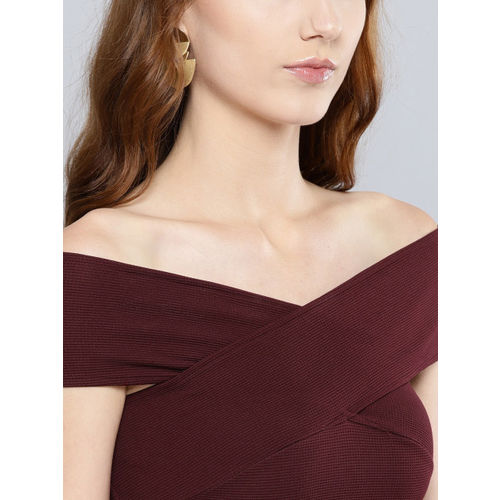 Veni Vidi Vici Women Maroon Solid Bardot Fit and Flare Dress