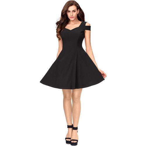 Addyvero Black Cotton  Skater Dress