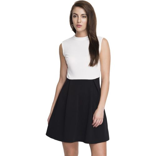 Addyvero Women's Gathered White, Black Dress