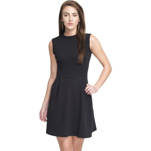 Addyvero Women's Gathered Black Dress