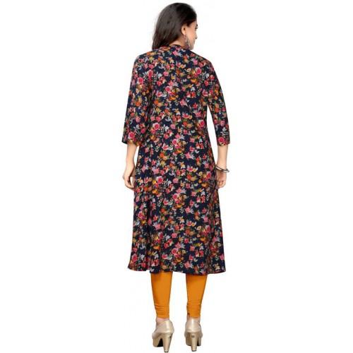 Saarah Multicolor Rayon Floral Print Flared Kurta
