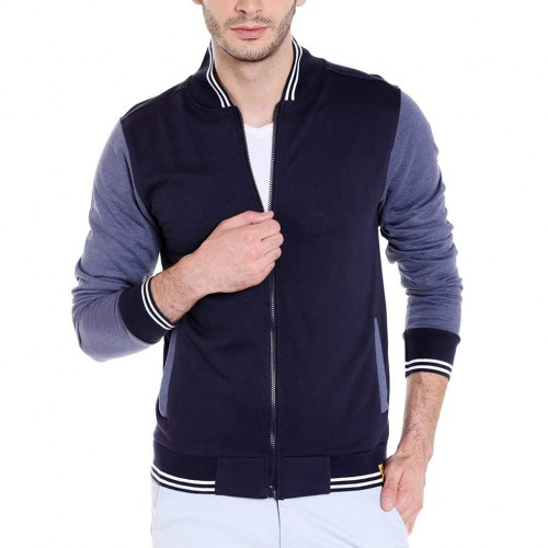 Campus Sutra Blue Cotton Quilted Jacket