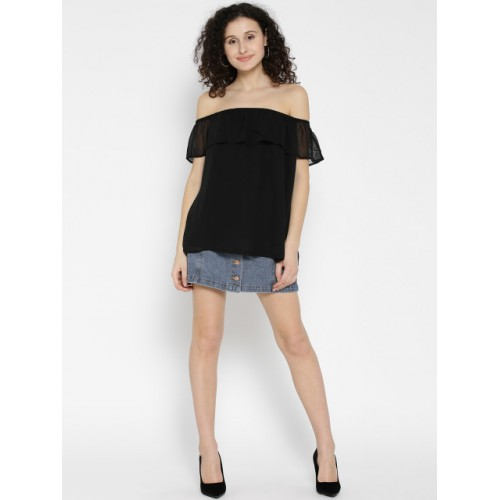 ONLY Women Black Solid Bardot Top