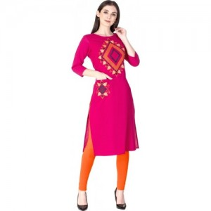 KSHARAA Pink Cotton Embroidered Straight Kurta