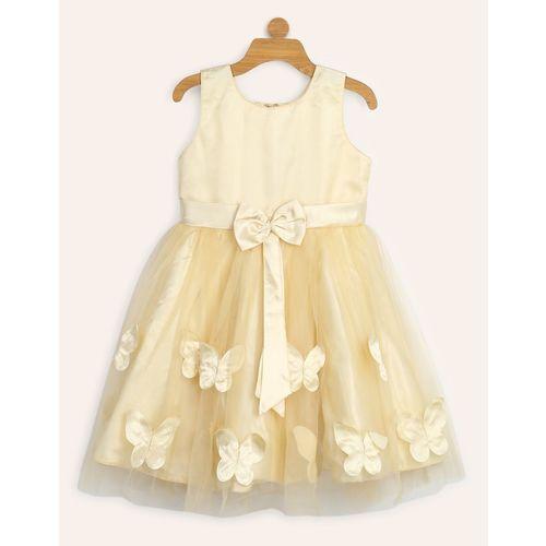 Miss & Chief Girls Midi/Knee Length Party Dress(Beige, Sleeveless)