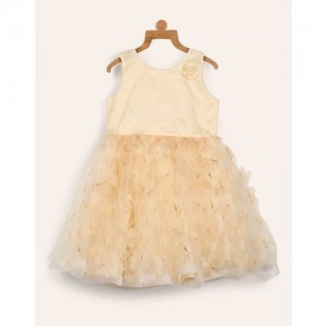 Miss & Chief Girls Midi/Knee Length Party Dress(Beige, Sleeveless)