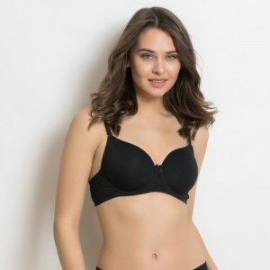 Zivame Pro Black Cotton T-Shirt Lightly Padded Bra