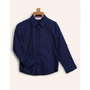 Miss & Chief Boys Floral Print Casual Dark Blue Shirt