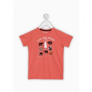 Miss & Chief Orange Cotton Printed T-Shirt