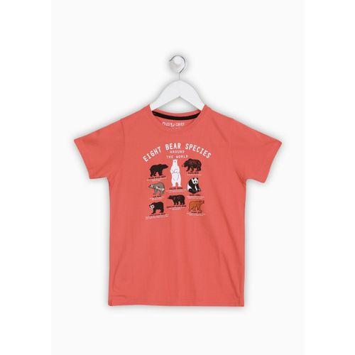 Miss & Chief Orange Cotton Printed T-Shirt