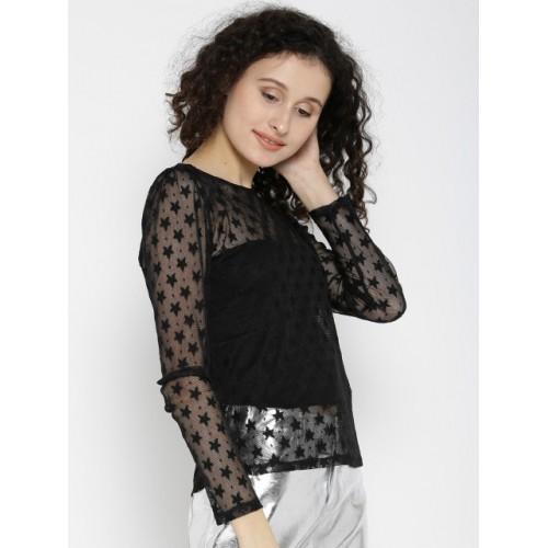 ONLY Women Black Lace Slim Fit Top