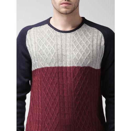 Mast & Harbour Men Grey & Navy Colour Block Sweater