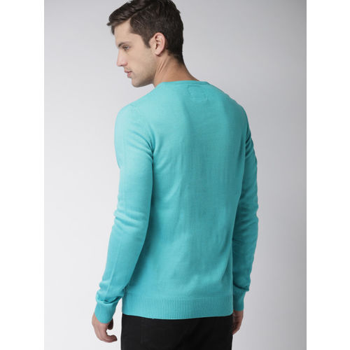 Mast & Harbour Men Blue Solid Pullover Sweater