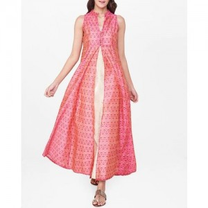 Global Desi Women Pink & Cream-Coloured Printed Layered Kurta