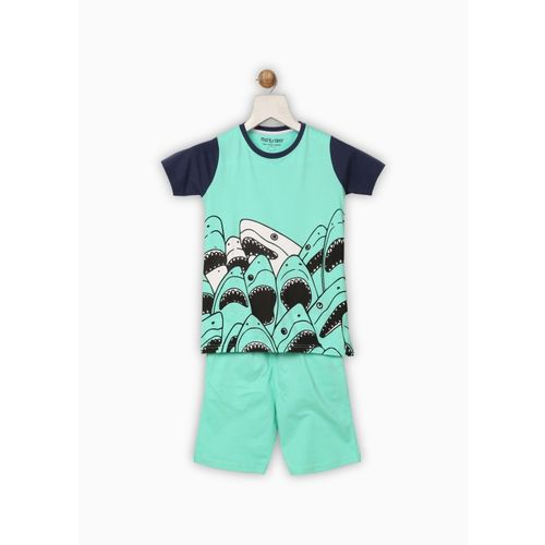 Miss & Chief Blue Boy's Printed Cotton Nightwear