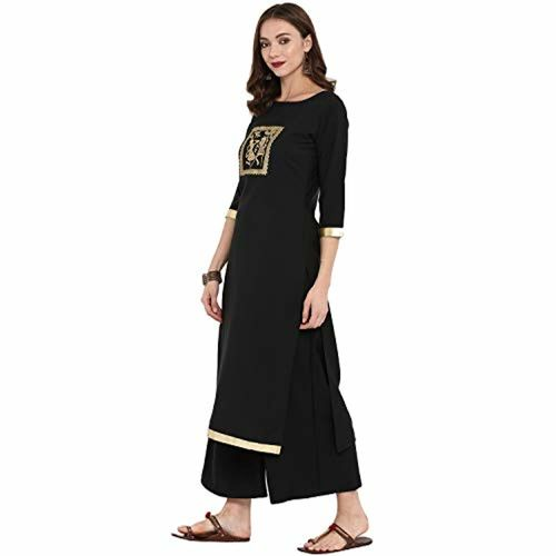 ZIYAA Ziyaa women's Black color Straight Gold Foil Kurta (ZIKUCR2341)