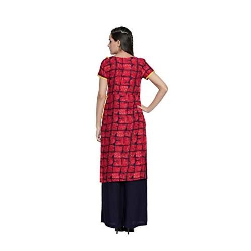 OOMPH! Red Rayon Regular fit Straight Kurtis