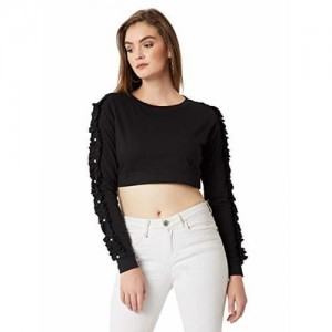 0c053593cf748a Buy Stalkbuylove Black Cotton Cut Out Sleeve Boat Neck Crop Top ...