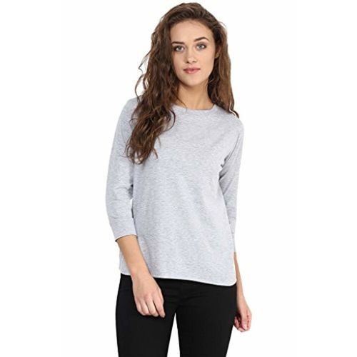 Miss Chase Women's Grey & Blue 3/4 Sleeve Round Neck Solid Top