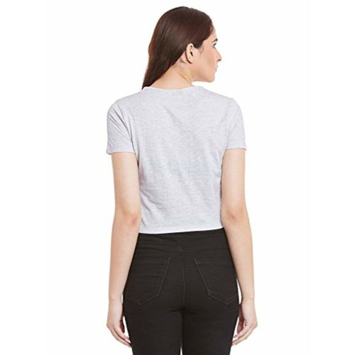 Miss Chase Women's Solid Round Neck Short Sleeve Slim Fit Crop Top