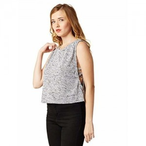 Miss Chase Women's Grey High-Low Crop Top