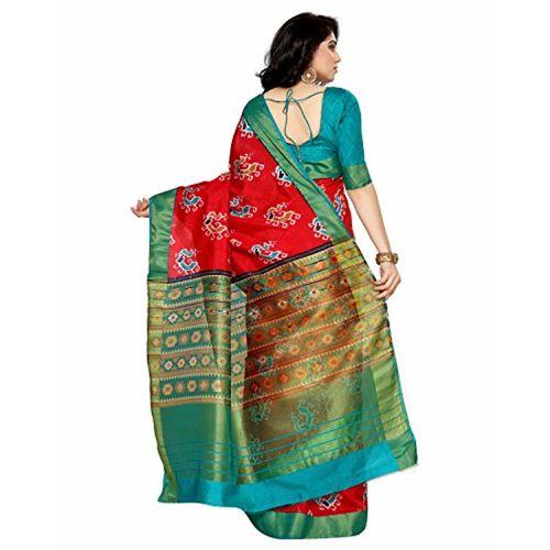 MIMOSA Tassar Silk Saree With Blouse Piece(4130-Saln-5-Strw-Rma_Red Free Size)