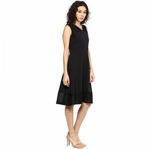 109 F Women Black Solid Dress S Size