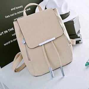 Pekian Blossom Beige Faux Leather Backpack