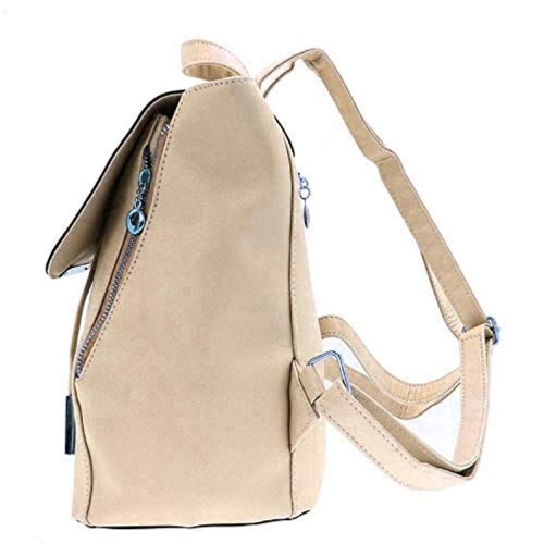 Pekian Blossom Beige Faux Leather Backpack For Women