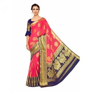 a530bcb24df8ae MIMOSA Mimosa Art Chiffon silk Wedding saree Kanjivarm Pattu style With  Contrast Color: Pink (